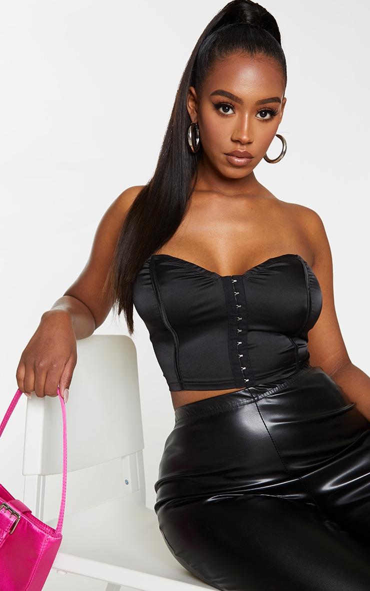 Shape Black Satin Sweetheart Hook And Eye Crop Top 1