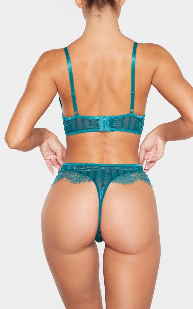 Emerald Striped Lace High Leg Thong 3