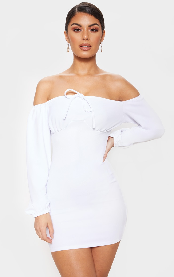 White Ruched Bust Bodycon Dress 1