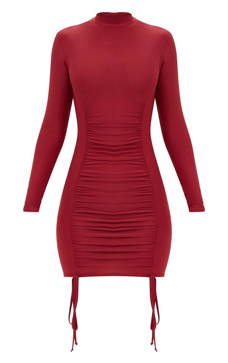 Burgundy Tie Detail Bodycon Dress 3