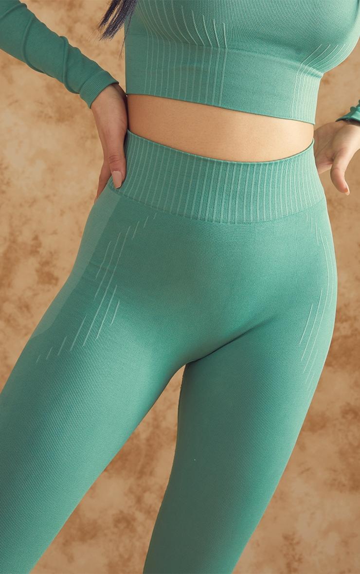 PRETTYLITTLETHING Green Contour Seamless Gym Leggings 4