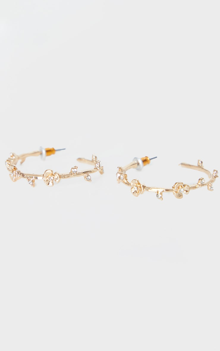 Gold Mini Rose And Diamante Small Hoop Earrings 3