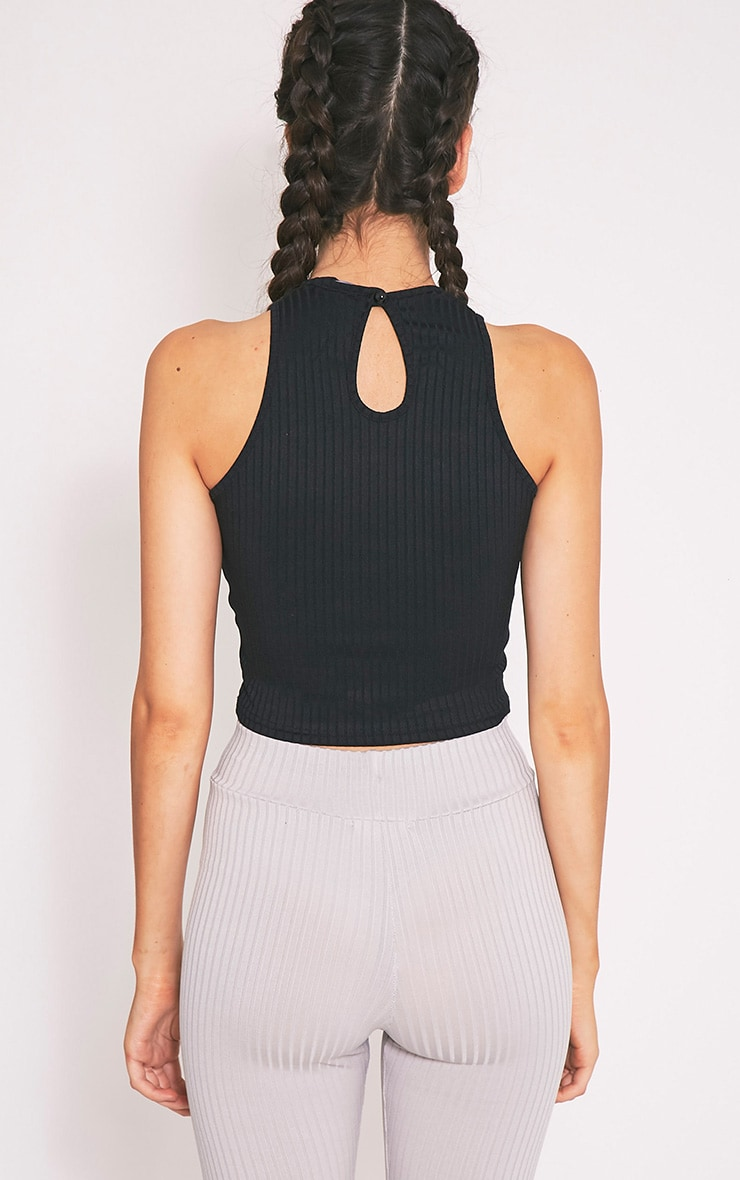 Brady Black Jersey Rib Crop Top 2