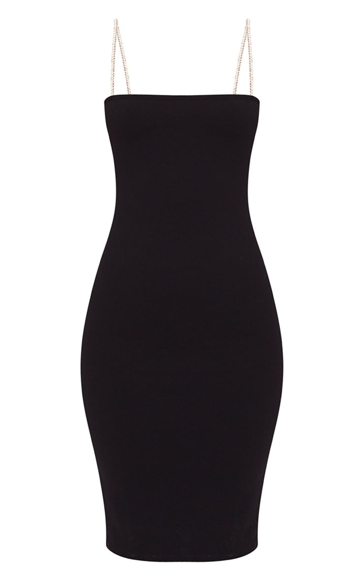 Black Diamante Strap Straight Neck Midi Dress 3