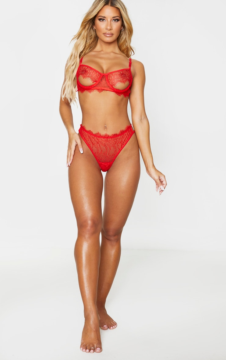 Red Delicate Lace Cut Out Lingerie Set 3