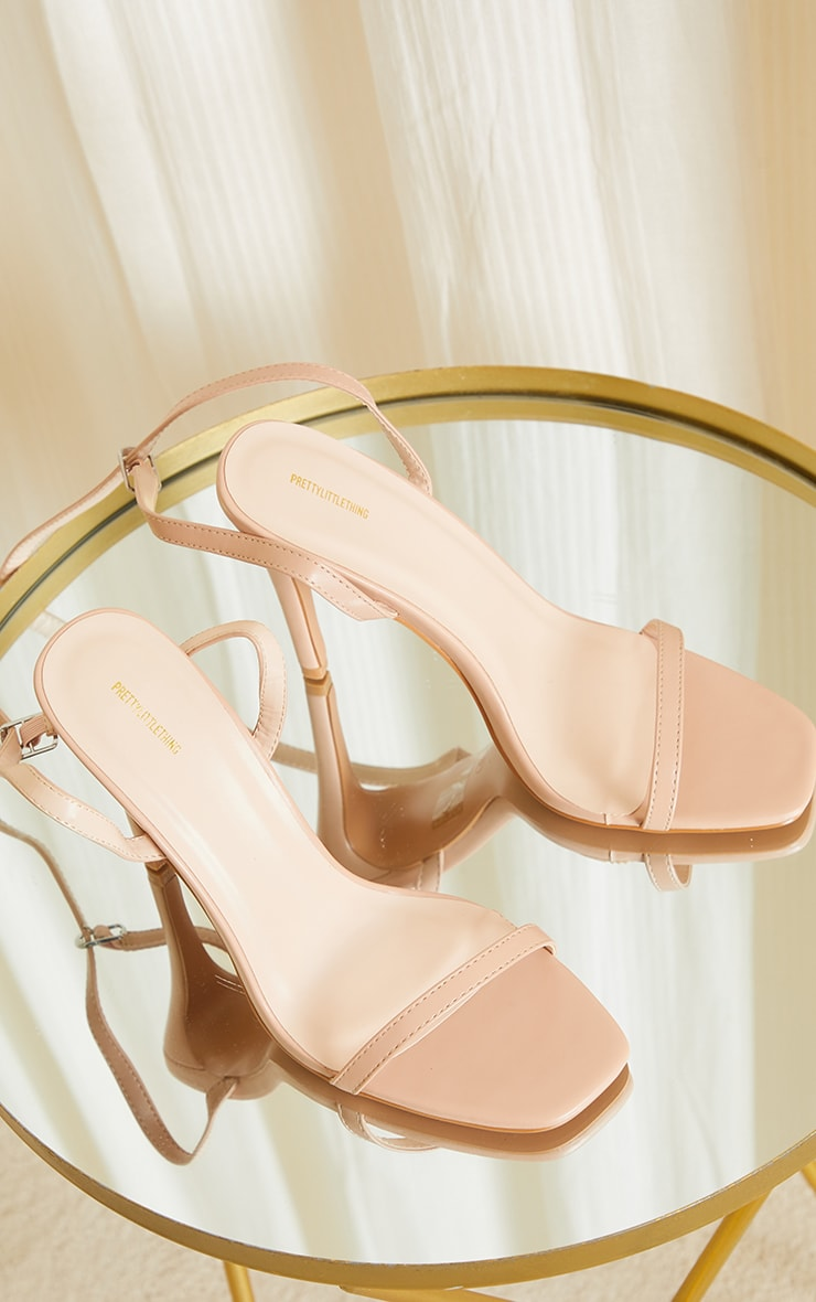 Nude PU Square Toe Barely There Strappy High Heels 3