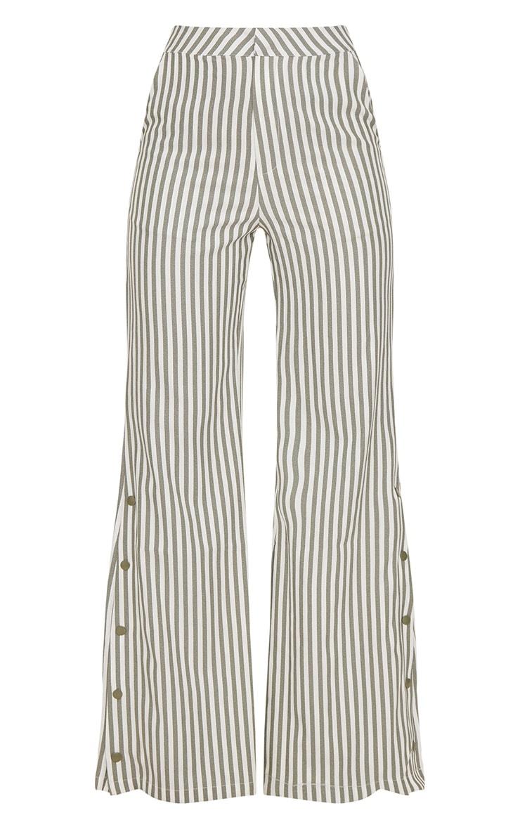 Khaki Humbug Stripe Popper Flared Trousers 3