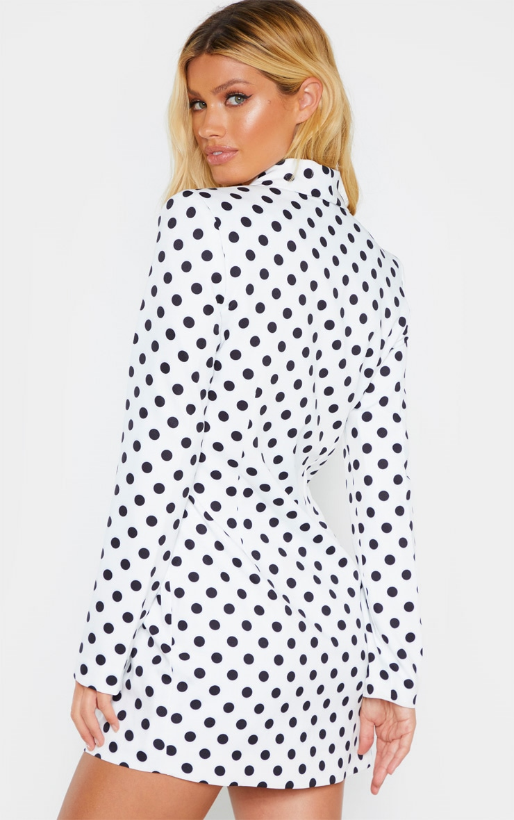 White Polkadot Gold Button Blazer Dress 2