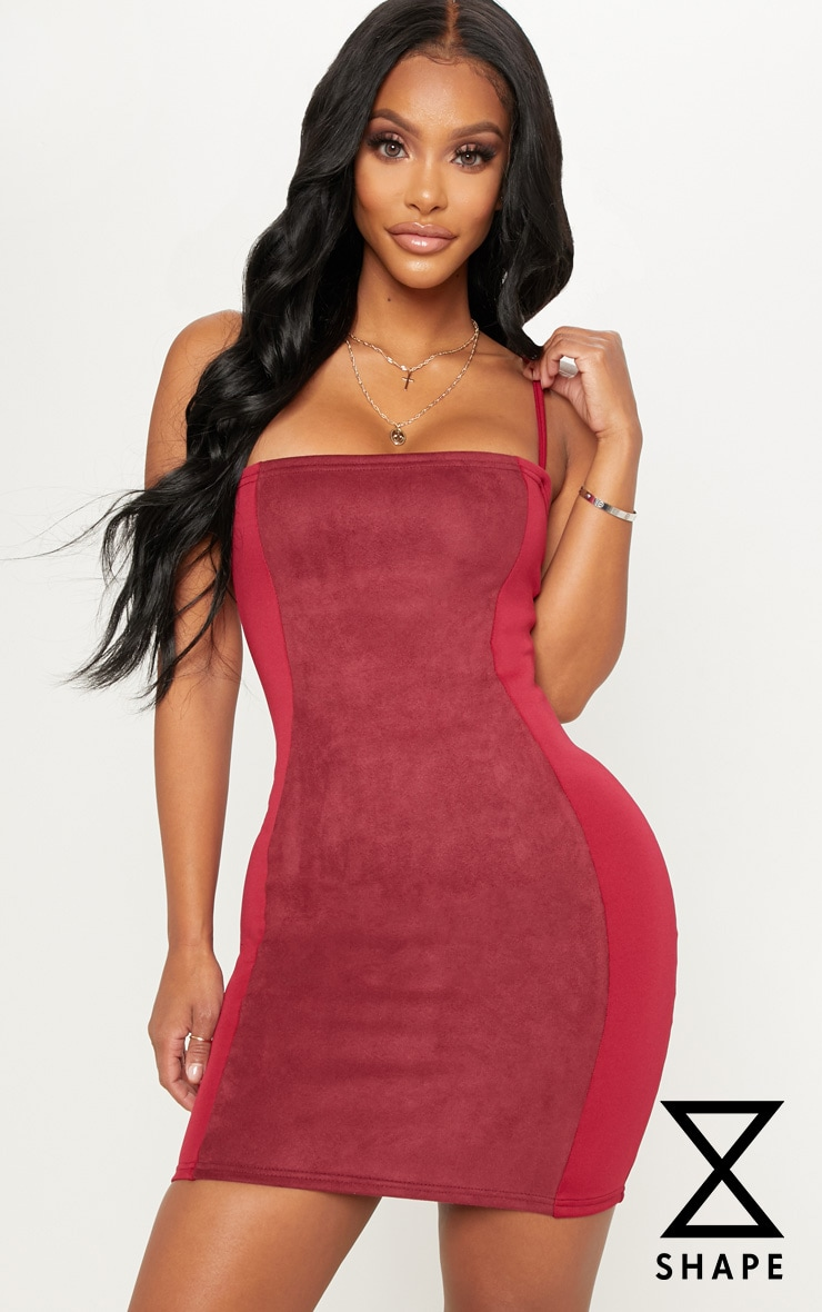 Shape Burgundy Faux Suede Detail Strappy Bodycon Dress by Prettylittlething
