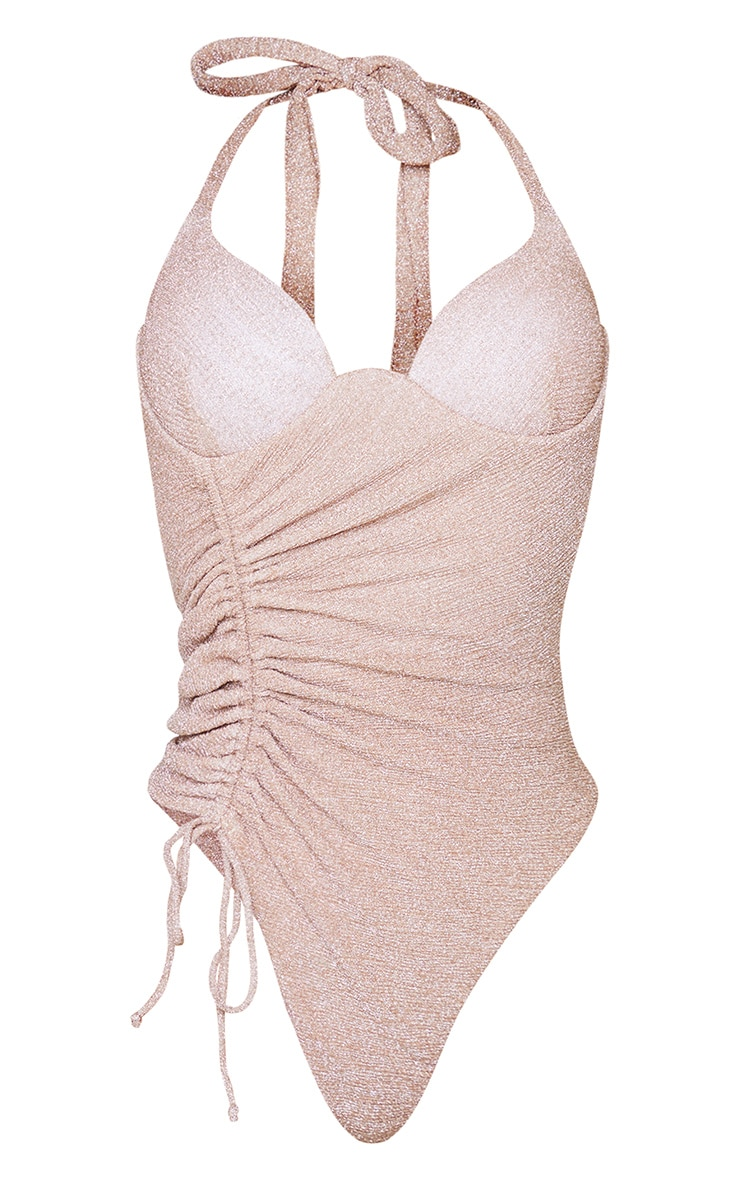 Gold Glitter Ruched Drawstring Cupped Swimsuit 5