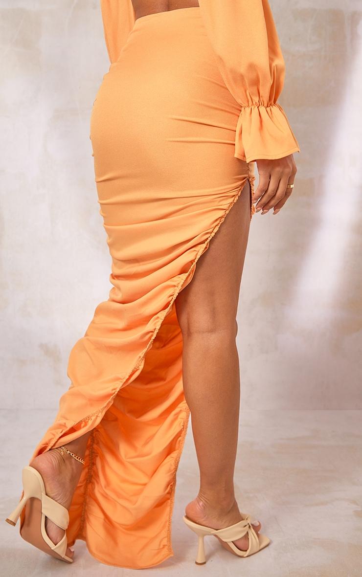 Orange Woven Ruched Side Detail Split Leg Midaxi Skirt 3
