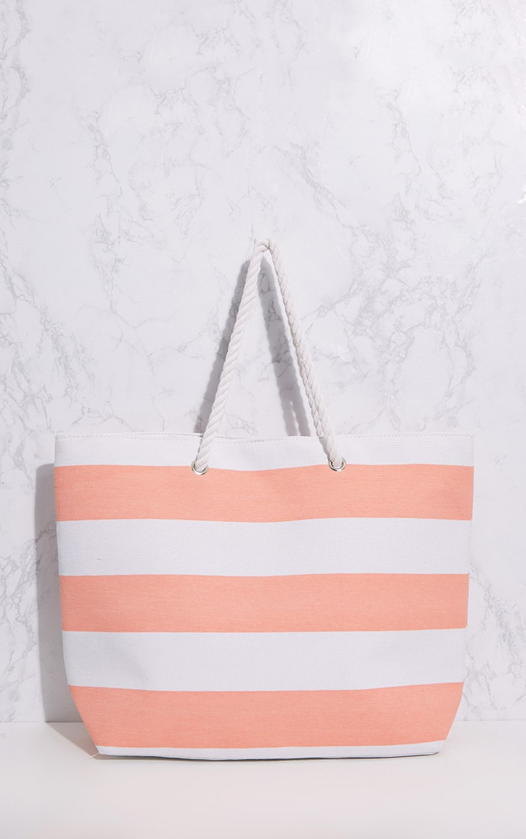Pink Stripe Rope Handle Beach Bag 3