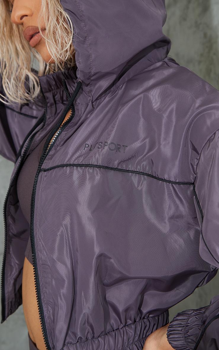 Brown Piping Detail Sports Windbreaker 4