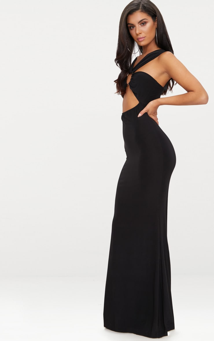 Black Cross Strap Cut Out Ring Detail Maxi Dress  4