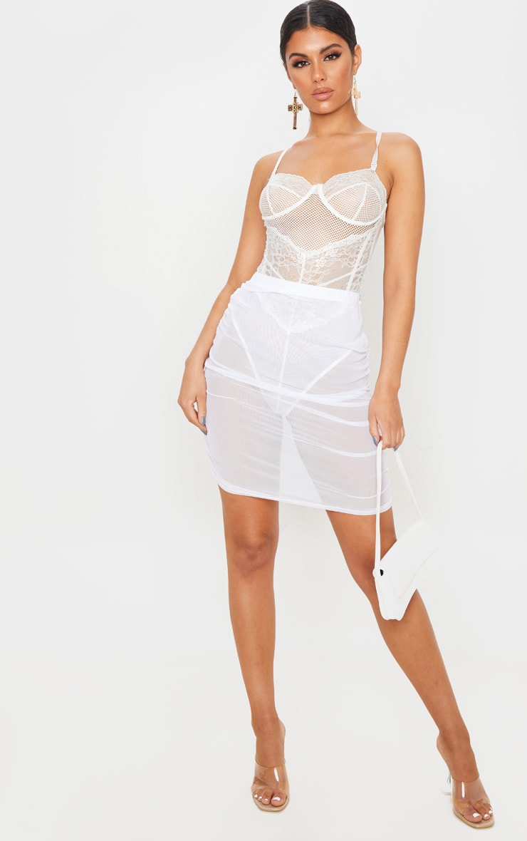 White Mesh Ruched Mini Skirt 1