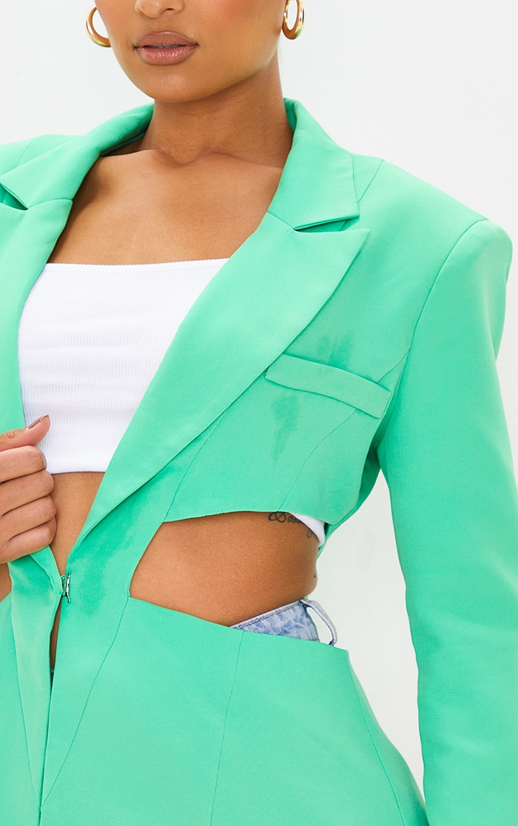 Green Woven Extreme Cut Out Blazer 4