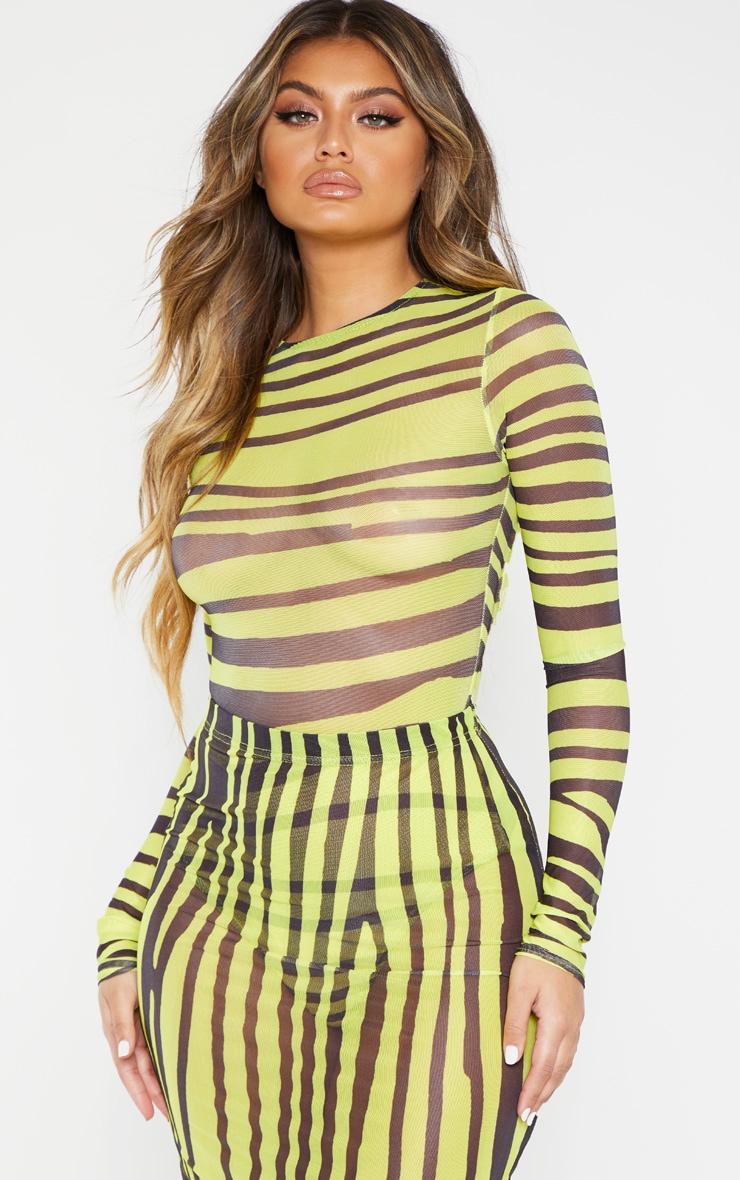 Neon Lime Printed Mesh Long Sleeve Bodysuit 1