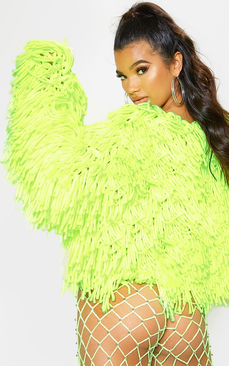 Neon Lime Knitted Shaggy Cardigan 3