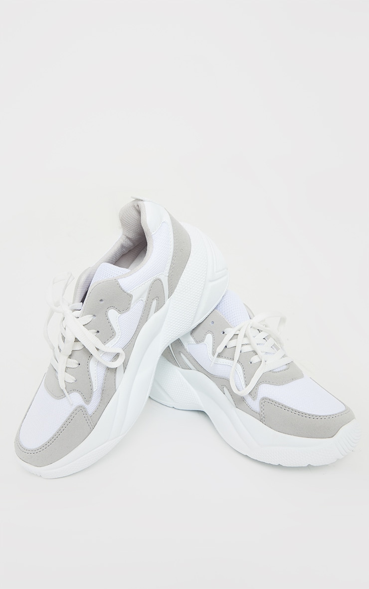 White Chunky Textured Sole Mesh Lace Up Trainer 3