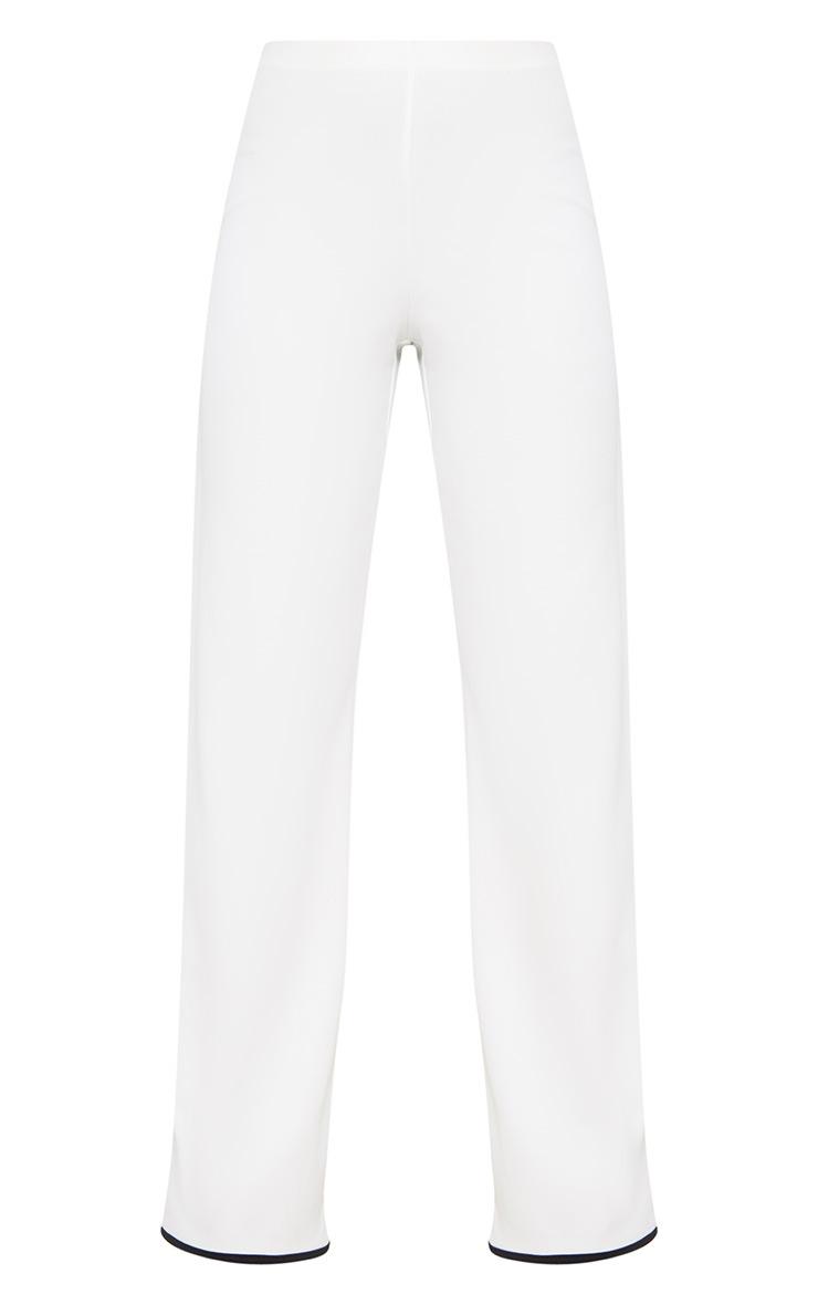 Petite White Binding Detail Wide Leg Trouser 3