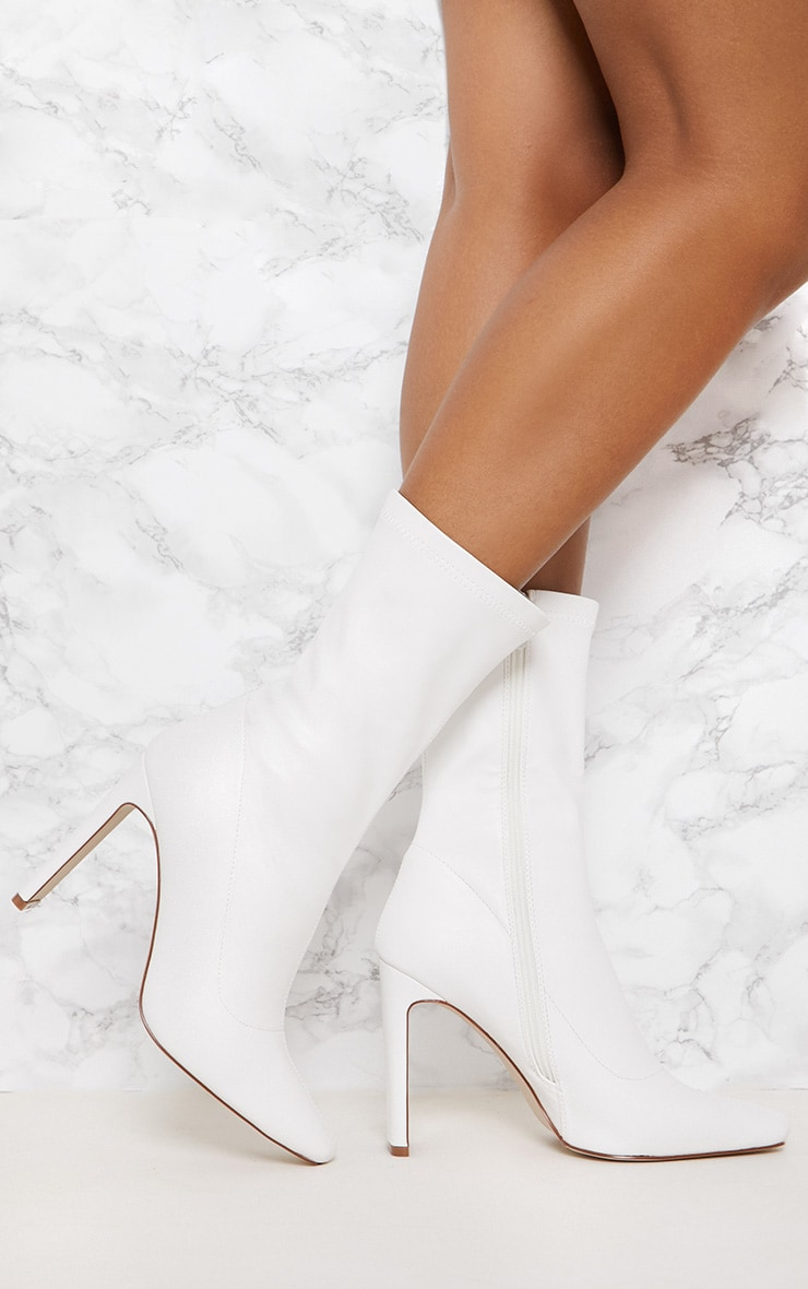 White Heeled Sock Boot 1