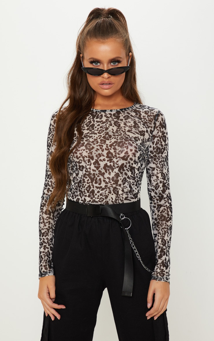 Grey Mesh Leopard Print Long Sleeve Top