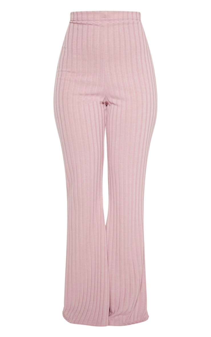 Petite Dusty Lilac Ribbed Flares  3