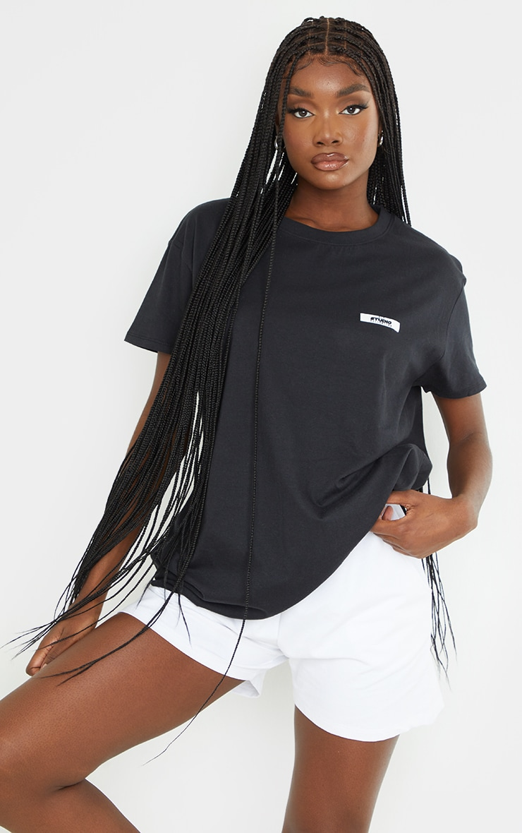 PRETTYLITTLETHING Tall Black Oversized T-Shirt 3