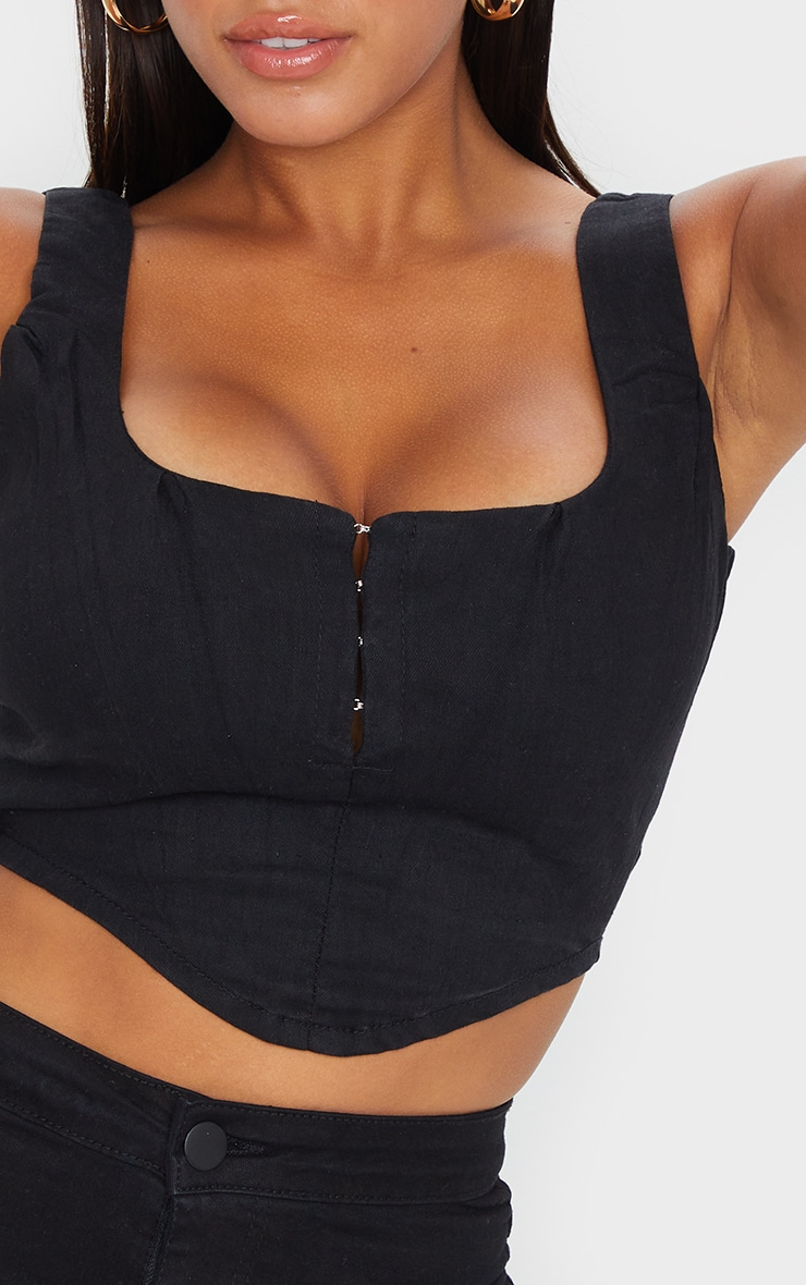 Shape - Top noir à crochets et oeillets style corset 5