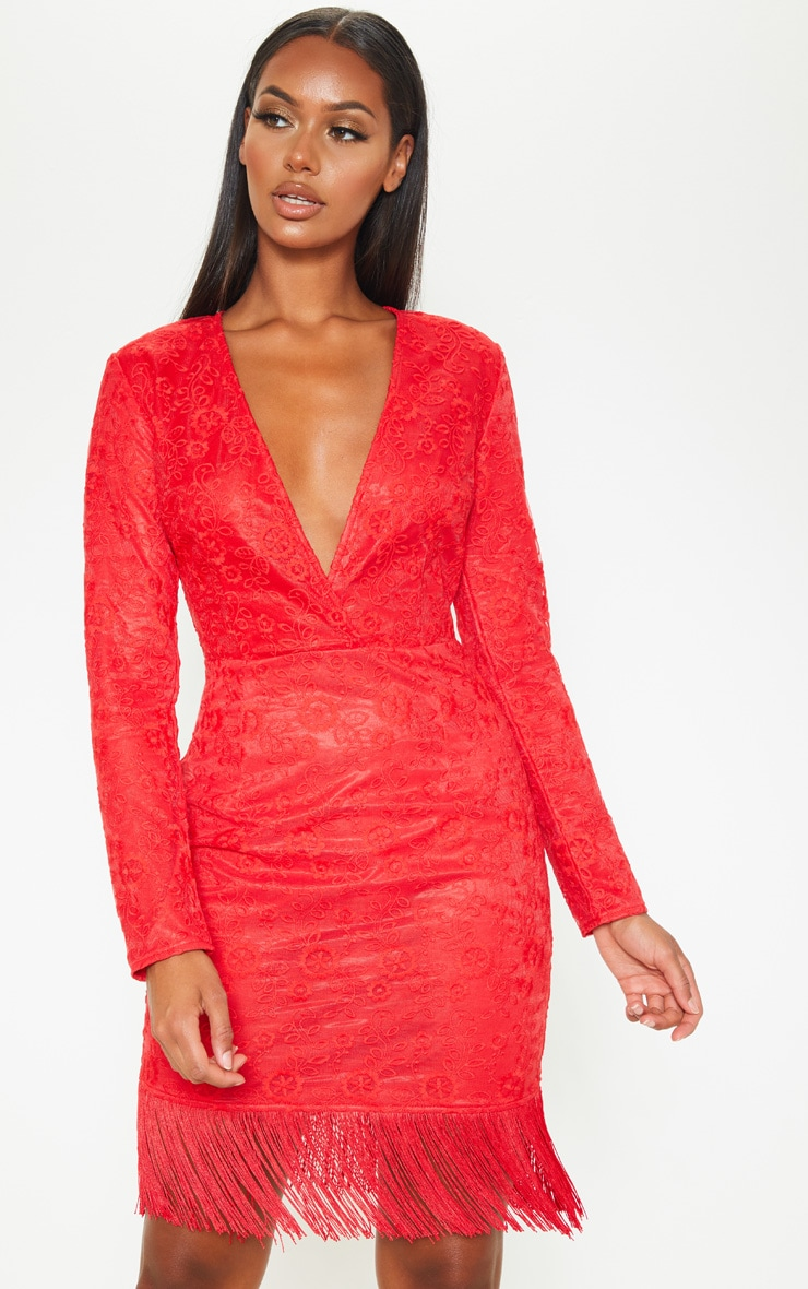 Red Lace Tassel Hem Bodycon Dress 4