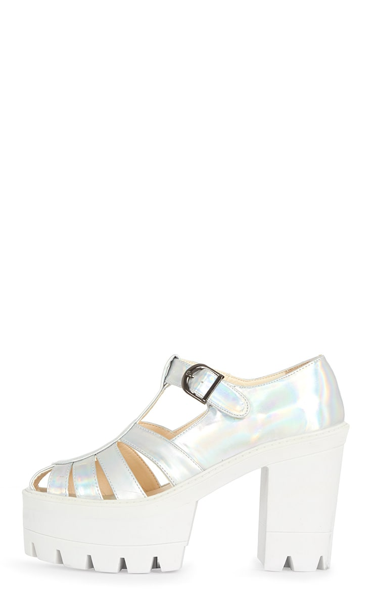 Jamiya Silver Holographic Cut Out Heeled Sandals  1