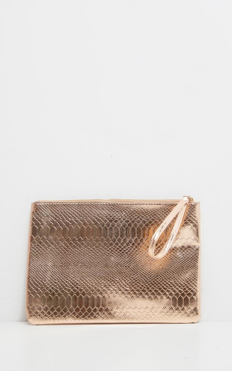 Rose Gold Metallic Clutch Bag 2