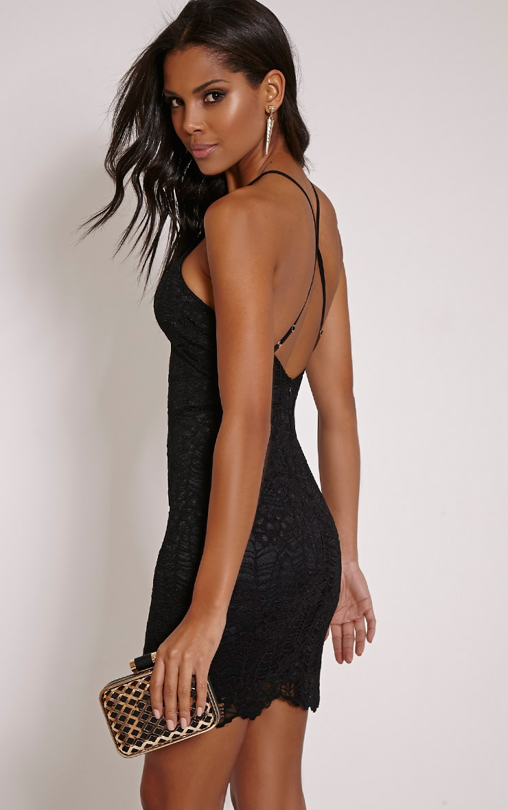 Kayah Black Lace Halterneck Mini Dress 1