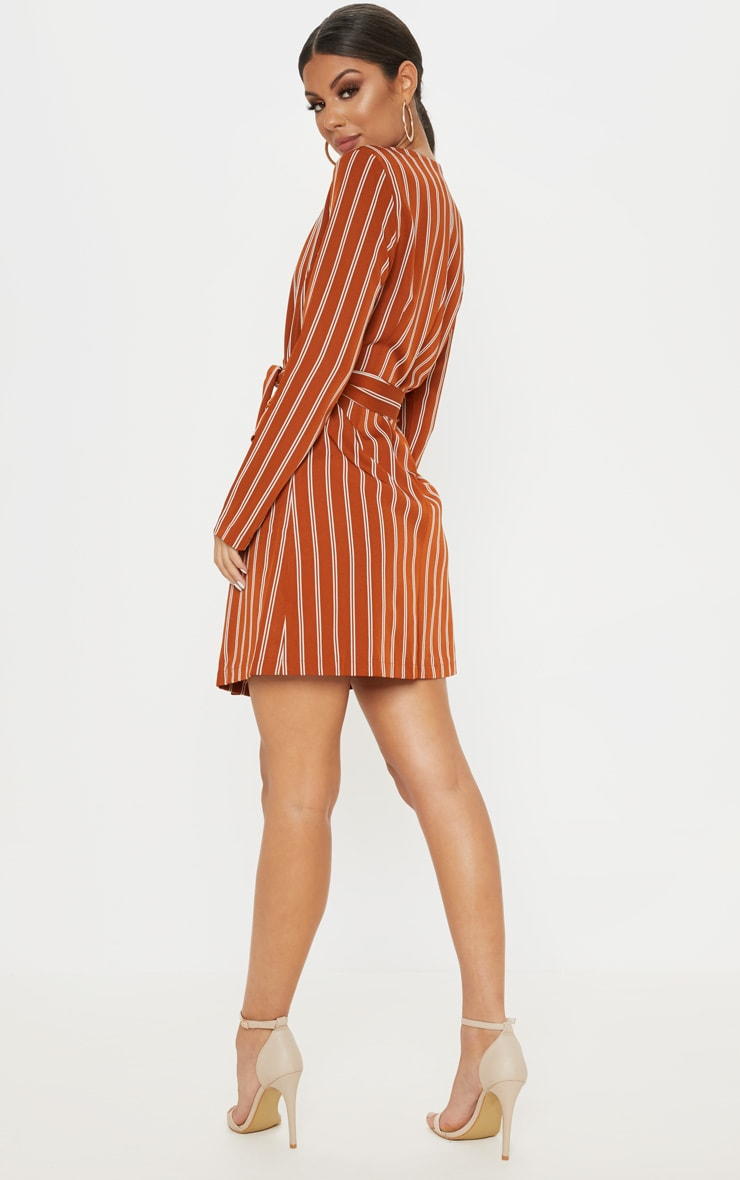 Rust Belted Blazer Dress  2