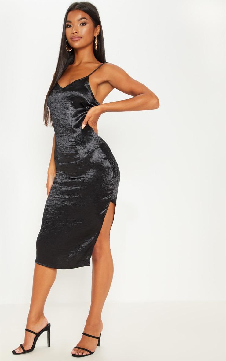 Black Satin Slip Midi Dress 1