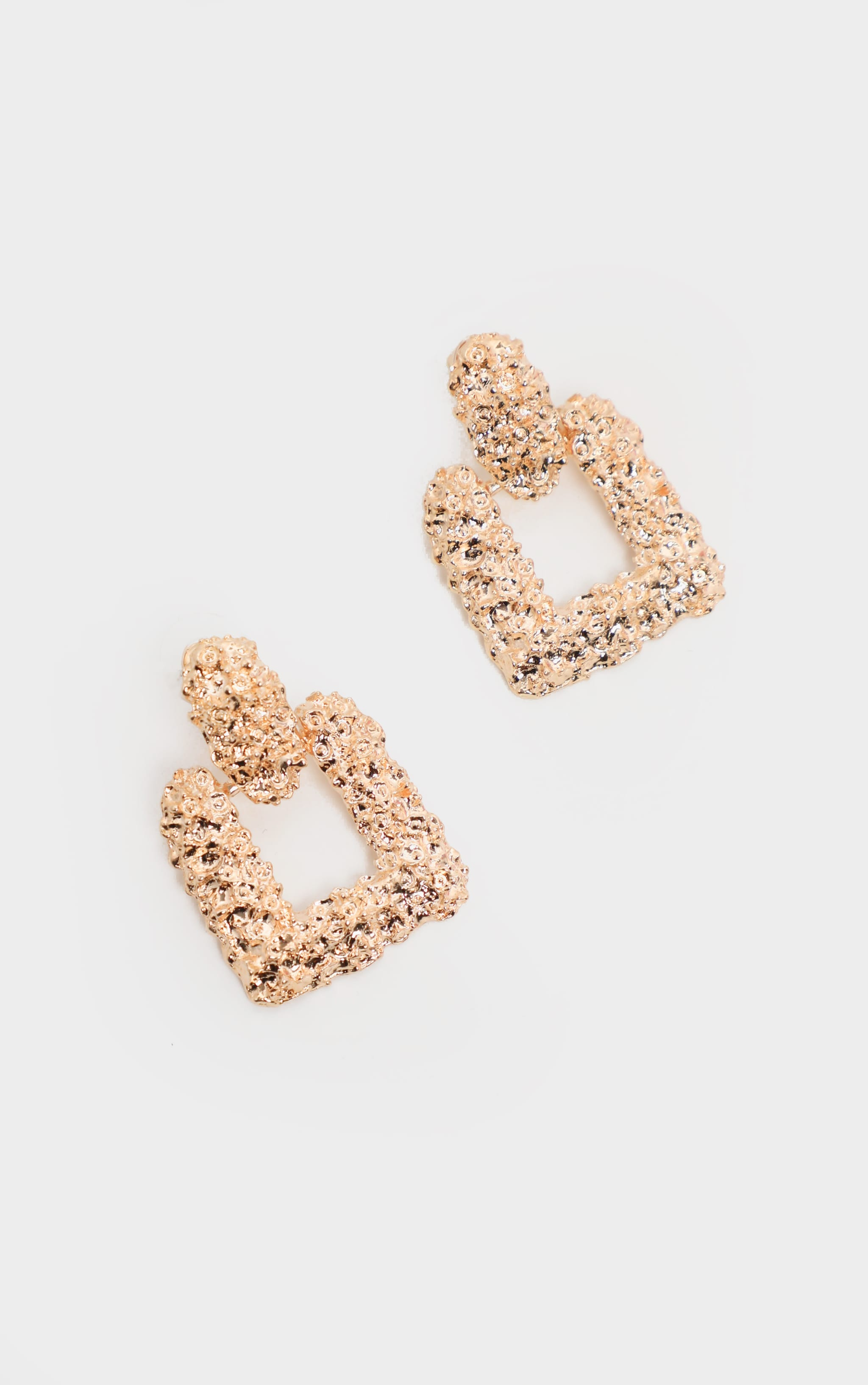 Gold Textured Square Door Knocker Earrings 2