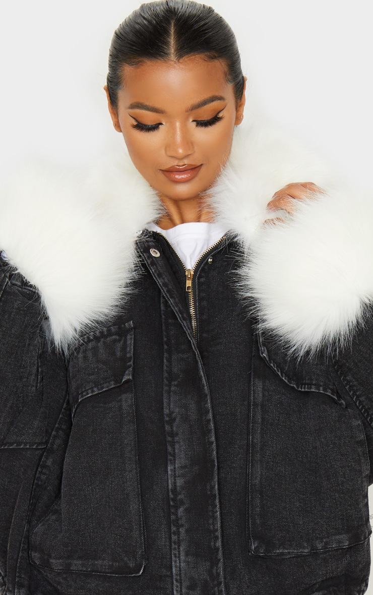 Black Faux Fur Trim Denim Jacket 5