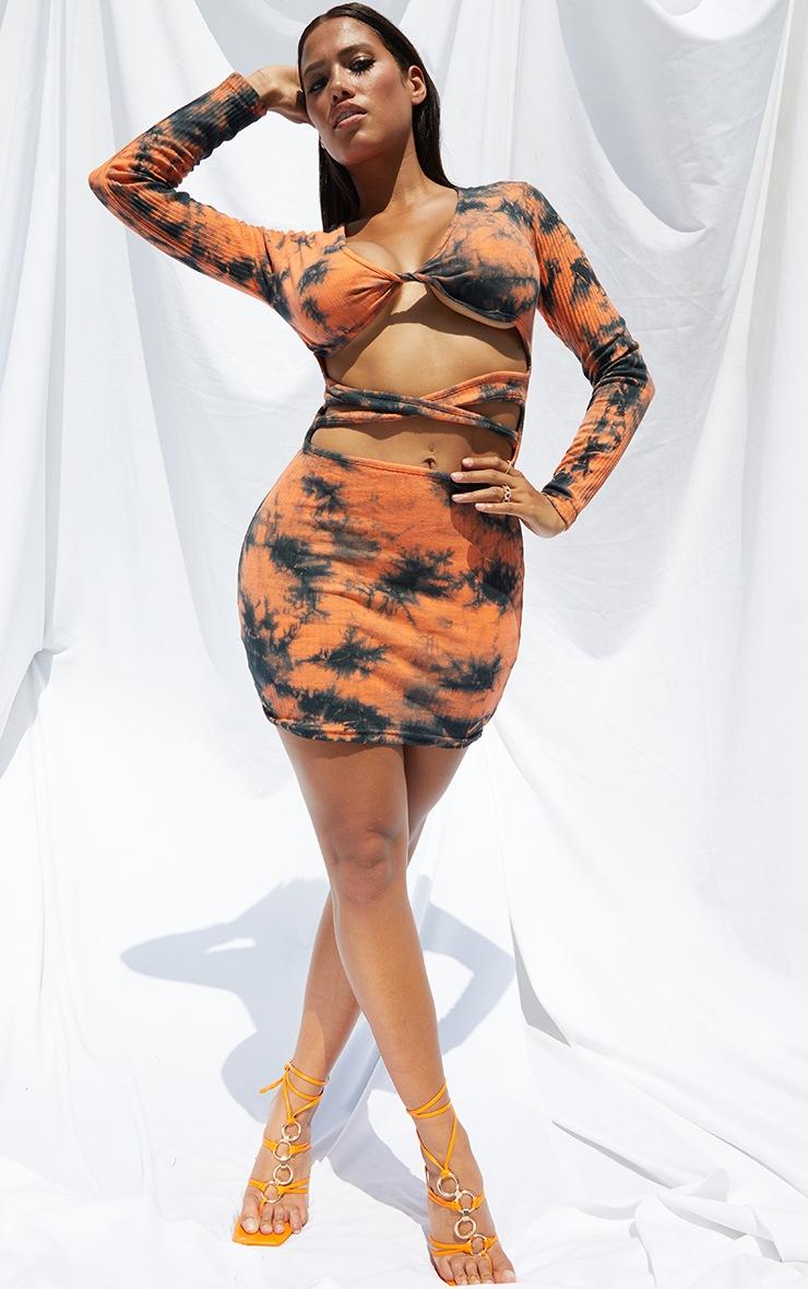 Shape Orange Tie Dye Thick Rib Twist Front Cut Out Bodycon Dress 3