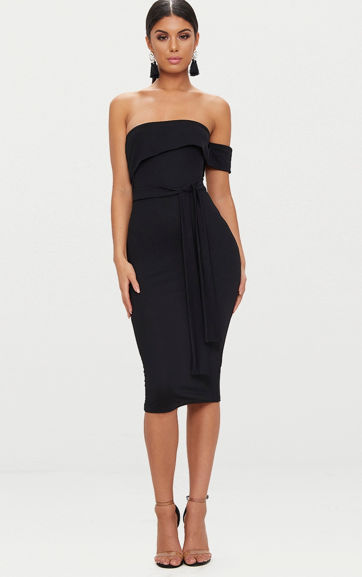 Black One Shoulder Bardot Tie Detail Midi Dress 4
