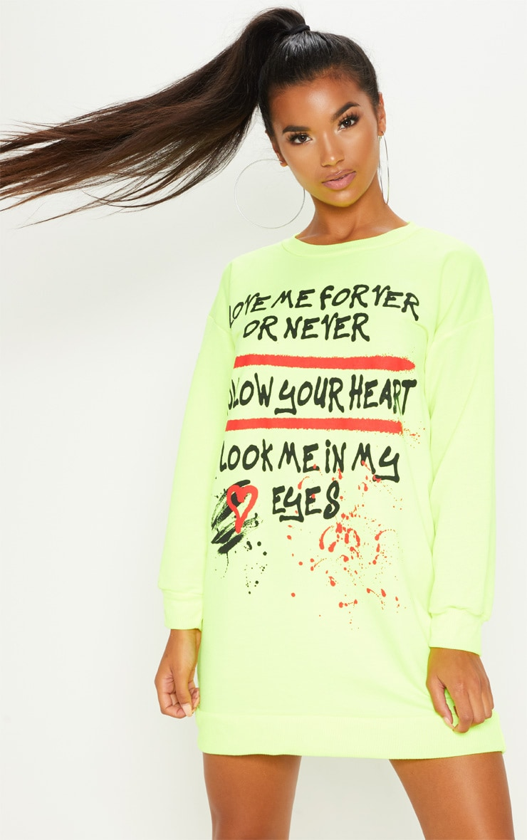 Neon Yellow Oversized Slogan Jumper Dress 1