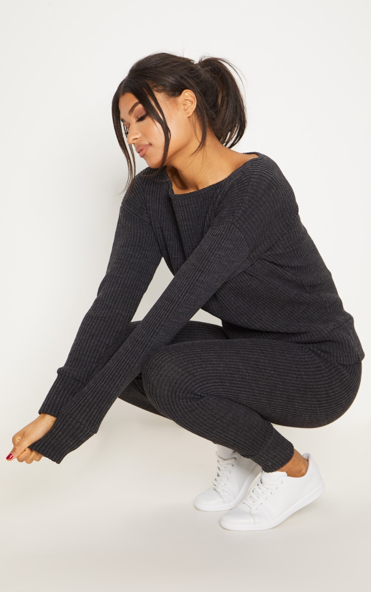 Charcoal Knitted Rib Jogger Co Ord