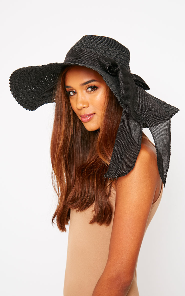 Henley Black Straw Floppy Hat 1