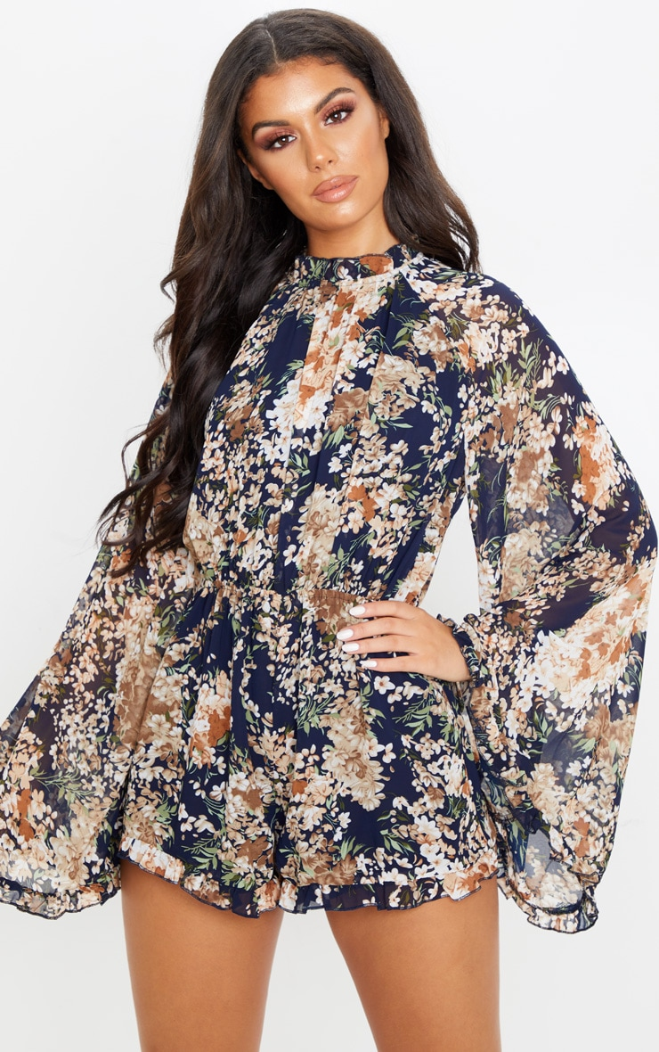 Multi Floral Print Backless Chiffon Playsuit 2