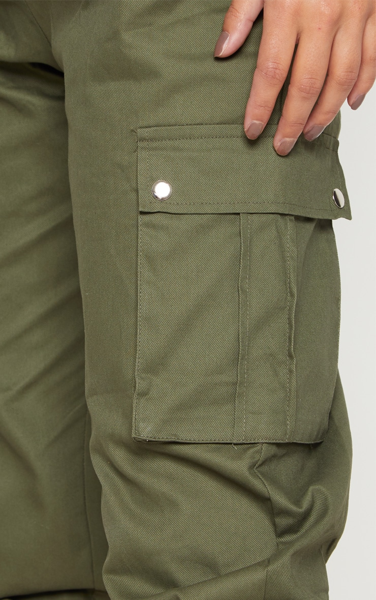 Petite Khaki Pocket Detail Cargo Trousers 5