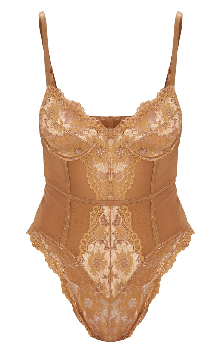 Mocha Underwired Cage Detail Lace Body 7