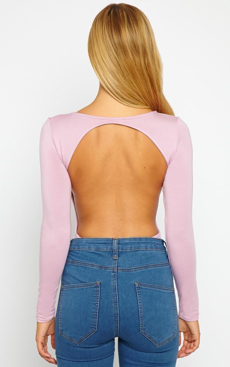 Basic Mauve Backless Jersey Bodysuit 2