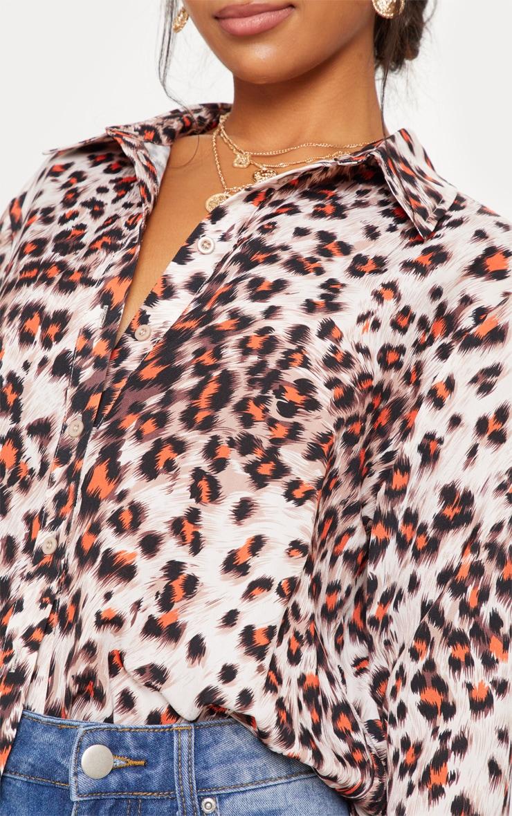 Orange Leopard Print Oversized Shirt 5