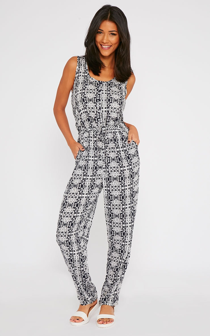 Mona Navy All Over Printed Jumpsuit 1