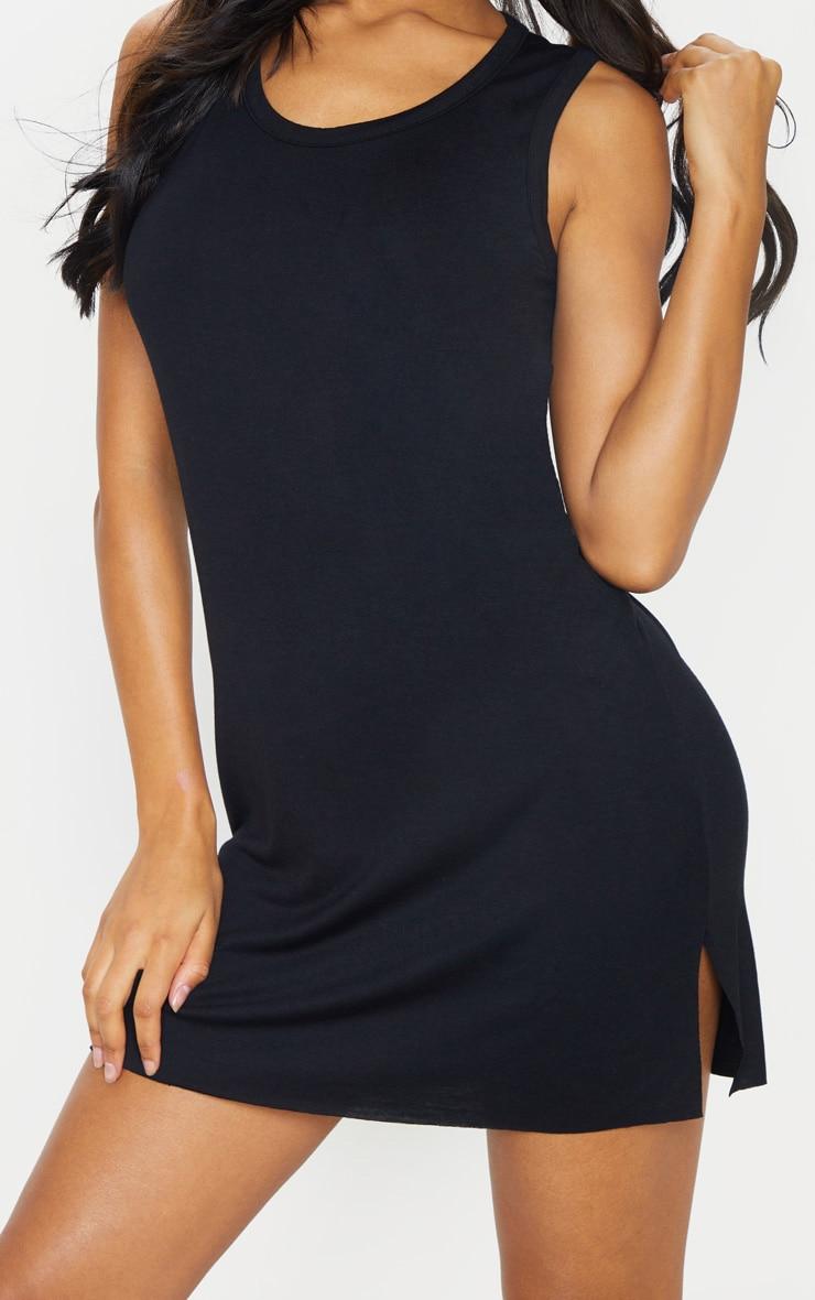 Black Sleeveless Raw Edge Split T Shirt Dress 4