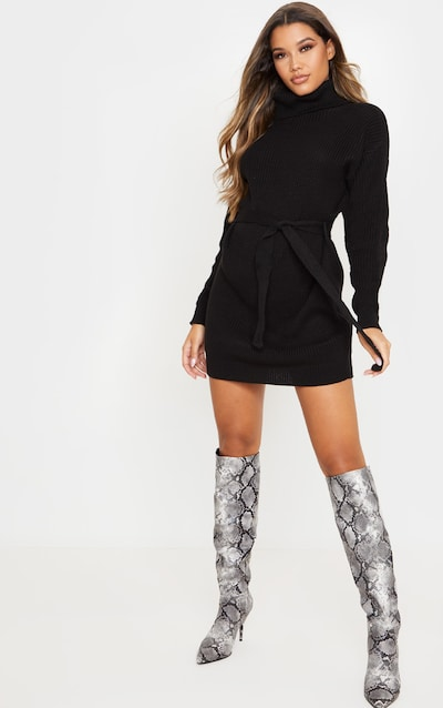 Black Belted Roll Neck Knitted Jumper Dress